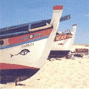 A fishing boat on an algarve beach, South Portugal