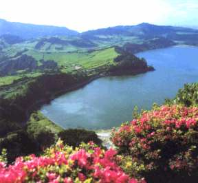 crater of an extinct volcano in the Azores