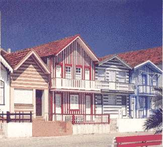 Colourful houses in Aveiro, Costa Prata, Portugal