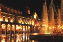 main square in Braga - night view